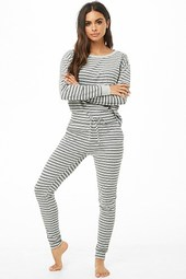 Striped Ribbed Pajama Pants