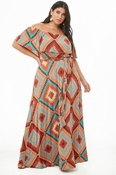 Plus Size Geo Flounce Maxi Dress