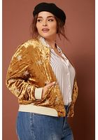 Plus Size Velvet Bomber Jacket