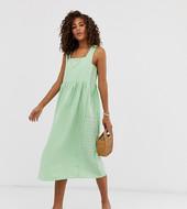Vestido Midi Veraniego De Corte Amplio Con Textura Y Cuello Cuadrado De Asos Design Tall