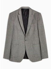 Grey Textured Blazer With Wool