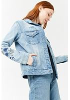 Distressed Floral-embroidered Denim Jacket