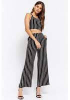 Striped Crop Top & Wide-leg Pants Set