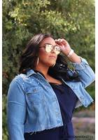 Plus Size Distressed Cropped Denim Jacket