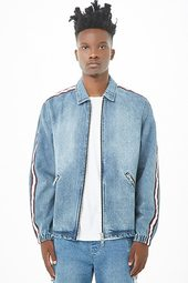 Striped-trim Denim Jacket