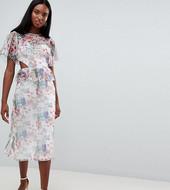Vestido De Tarde Midi De Malla Con Estampado De Flores Y Detalle De Aberturas De Asos Design Tall