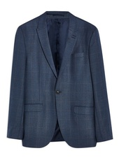 Navy Slim Fit Windowpane Check Single Breasted Blazer With Peak Lapels