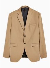 Selected Homme Beige Slim Fit Single Breasted Blazer With Notch Lapels