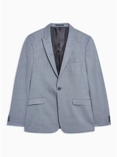 Blue Skinny Fit Premium Textured Single Breasted Blazer With Peak Lapels