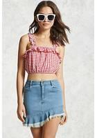 Frayed Asymmetrical Denim Skirt