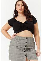 Plus Size Plaid Mini Skirt