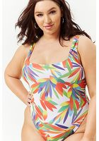 Plus Size M By Monif C. Abstract Tropical Bodysuit