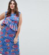 Vestido Midi De Corte Columna De Malla Con Estampado Floral De Asos Curve