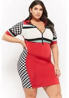 Plus Size Colorblock Checkered Mini Dress