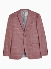 Pink Slim Fit Windowpane Check Single Breasted Blazer With Notch Lapels