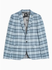Twisted Tailor Light Blue Check 'ginger' Blazer With Wool