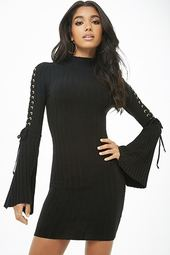 Ribbed Lace-up Mini Dress