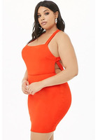 Plus Size Ribbed Cross-back Mini Dress
