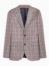 Navy And Red Super Skinny Fit Single Breasted Blazer With Notch Lapels