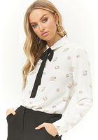 Teacup Print Contrast Bow Shirt