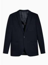 Navy Skinny Fit Jersey Single Breasted Blazer With Notch Lapels