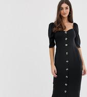 Vestido Midi De Lino Abotonado Con Escote En Forma De Corazón De Asos Design Tall