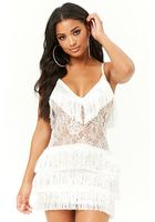 Tiered-fringe Lace Mini Dress