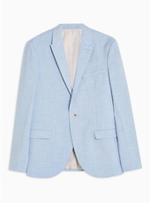 Light Blue Skinny Fit Single Breasted Blazer With Peak Lapels