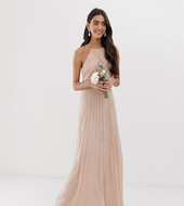 Vestido Largo Tipo Pichi De Dama De Honor Con Corpiño Fruncido De Asos Design Tall