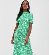 Vestido De Tarde Midi Con Botones Y Estampado Floral De Asos Design Tall