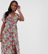 Vestido Midi Anudado A La Cintura Con Falda Plisada Y Estampado Vintage De Glamorous Tall