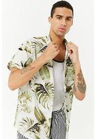 Leaf Print Slim-fit Shirt