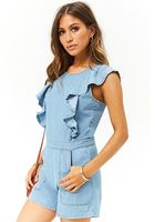 Lace-up Denim Romper