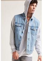 Hooded Contrast Denim Jacket