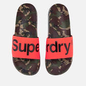 Superdry Men's Beach Slide Sandals - Camo/hazard Orange/black - S/uk 6-7 - Orange