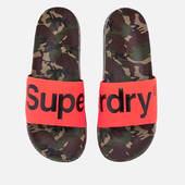 Superdry Men's Beach Slide Sandals - Camo/hazard Orange/black - S/uk 6-7 - Orange