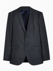 Navy Skinny Fit Pinstripe Single Breasted Blazer With Notch Lapels