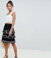 Minifalda De Verano Con Bordado Con Diseño Escalonado De Asos Design Tall
