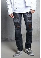 Distressed Bleach Dye Jeans