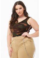 Plus Size Camo Print Striped Bodysuit