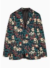 Black Japan Printed Super Skinny Blazer