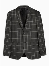Grey Skinny Fit Windowpane Check Single Breasted Blazer With Notch Lapels