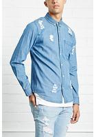 Slim-fit Distressed Denim Shirt