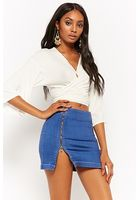 Double-zip Denim Skirt