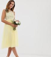 Vestido Midi De Dama De Honor En Color Limón Con Lentejuelas Delicadas Y Top De Malla De Maya
