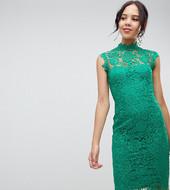 Vestido Midi De Encaje Verde Esmeralda Con Cuello Subido De Paper Dolls Tall