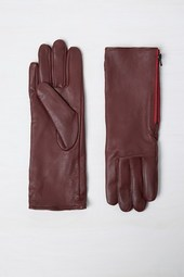 Leather Zip Gloves - Black/berry Blush