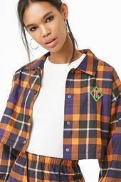 Plaid Cropped Coach Jacket