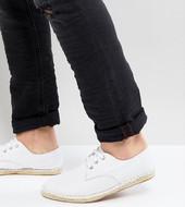 Alpargatas Blancas De Lona Texturizada Con Cordones De Asos Wide Fit