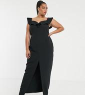 Vestido Largo Con Escote Bardot Y Volante En Negro De Vesper Curve